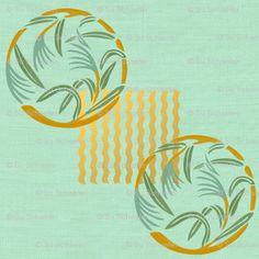 Close up of 'Bamboo grass on blue-green linen weave'
