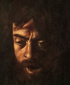Michelangelo Mersini da Caravaggio's self portait as the decapitated head of Goliath - 1609