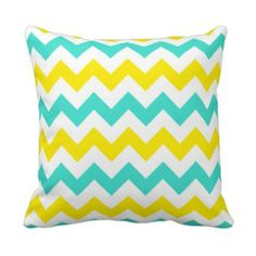 Turquoise and Yellow Zigzag Pillow