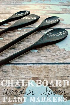Chalkboard Wooden Spoon Plant Markers - This Girl's Life Blog