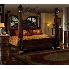 Mcferran CK Rich Brown Solid Hardwood California King Size Bedroom Set The Mcferran CK Leather California King Bedroom set is built with classic Victorian stylings and solid…More Canopy Bedroom Sets, King Size Bedroom Sets, Bedding Master Bedroom, Bedroom Furniture Sets, Bedroom Decor, King Size Canopy Bed, Canopy Curtains, King Size Bedding, Bedroom Ideas