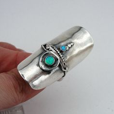 Magnificent NEW silver Ring from Hadar Designers Collection. A wide 45mm silver ring with two round Opal stones. Available with many other stones.