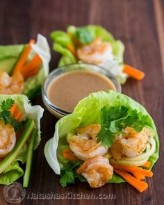 These shrimp lettuce wraps are dangerously enticing. I REALLY want you to try the peanut dipping sauce - you might be pouring it over all of your lettuce wraps forever. Fish Recipes, Seafood Recipes, Asian Recipes, Low Carb Recipes, Cooking Recipes, Healthy Recipes, Cooking Pasta, Atkins Recipes, Low Carb