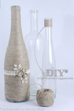 decorated wine bottles. could do this to mason jars also. I have SO many empty wine bottles to decorate!