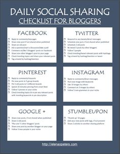 The biggest reason that most bloggers fail at their social media strategy is that they are not focused or consistent. This checklist will not only help you stay on track, it will also save you a ton of wasted, empty time on social media.