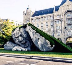 sculpture by Ervin Herve-Loranth in Szechenyi Square, Budapest, Hungary, 10/14 (LP)