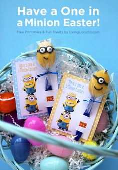 Cute!! Despicable Me 2 Minion Candy Spoons with Free Printable #Easter Tags.   #minions LivingLocurto.com
