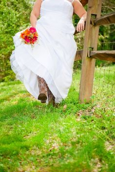 The cowboy boots and old wire fence are almost too country to handle http://my.gactv.com/great-american-weddings/boots/sgallery.esi?soc=pinterest