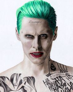 Colored pencil drawing of Jared Leto as the Joker in Suicide Squad movie by…