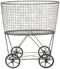 Other Laundry Supplies 20624: Creative Co-Op De2757 Metal Vintage Laundry Basket With Wheels, New -> BUY IT NOW ONLY: $164.21 on eBay!