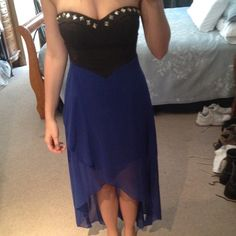 Blue strapless high low dress! Great dress! Nothing wrong, Dress says medium but I think it's more like a small. Dresses High Low
