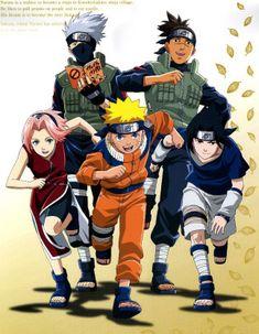 Naruto: Naruto, Sasuke, Kakashi, Iruka And Sakura Sasuke Sakura, Naruto And Sasuke, Anime Naruto, Hinata, Naruto Run, Naruto Team 7, Gaara, Manga Anime, Naruto Shippuden