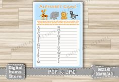 Baby Shower Alphabet Game - Name Game Safari Printable - Alphabet Shower Game Animals Jungle - Baby Shower Games - Instant Download - sb1 by DigitalitemsShop on Etsy