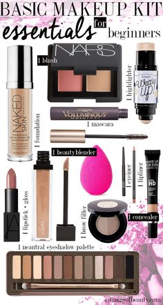 Basic Makeup Essentials for Beginners Makeup Shopping list for the makeup and beauty beginner. Get all of your makeup shopping for beginners here! The post Basic Makeup Essentials for Beginners appeared first on Beautiful Shared. Basic Makeup Kit, Makeup 101, Makeup Guide, Makeup Shop, Makeup Hacks, Makeup Brushes, Makeup Basics, Makeup Ideas, Drugstore Makeup