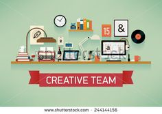 Vector modern flat design website cover on creative team featuring various workspace icons like retro typewriter, desktop computer with graphic design software, book shelf, work lamps, laptop and more - stock vector