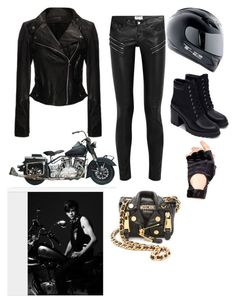 """Me and Thomas (Brodie Sangster) on a romantic motorcycle ride"" by creative-with-fashion ❤ liked on Polyvore featuring Yves Saint Laurent, Leg Avenue, Zara, Moschino, women's clothing, women's fashion, women, female, woman and misses"
