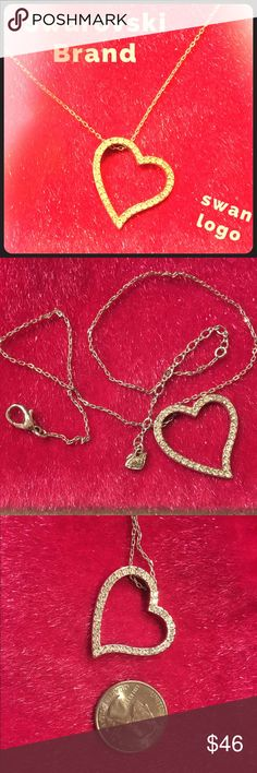 "SWAROVSKI Brand 💛 Asymmetrical Heart Pendant Swan Genuine Swarovski Brand asymmetrical heart necklace in excellent condition! Swan logo signed on both the pendant and the chain. Chain measures 15.5"" with a 3"" extension. No box. Swarovski Jewelry Necklaces"