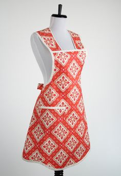 Womens Retro Cooking Apron Orange Cream and by TerraceHill on Etsy
