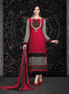 Ethnic NX Red Faux Crepe Churidar Designer Suit | Whats Up No. +918238311448  | http://www.ethnicnx.com/salwar-kameez/red-faux-crepe-churidar-designer-suit-7516