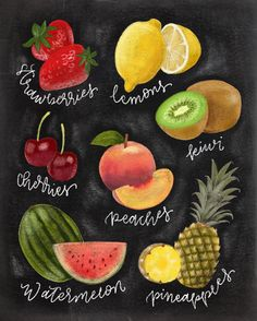 See this Instagram photo by @printablehaven • 43 likes Fruit chalkboard art made on the #iPadPro using #Procreate.