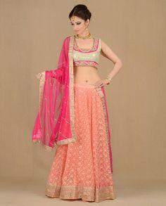 Peach Chikankari Lehenga Set - Buy Best Of Wedding Week Online | Exclusively.in