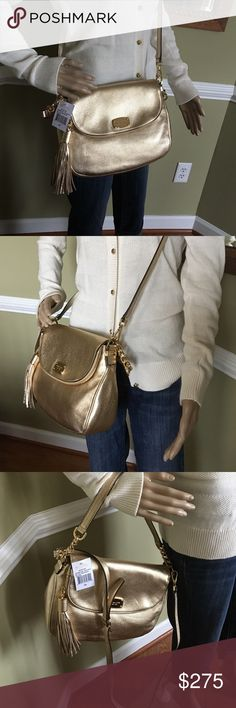 """Gorgeous Bedford Leather Michael Kors Plenty of room gorgeous gold color 11.5 W x9.5"""" H approximate lots of pockets Michael Kors Bags Crossbody Bags"""