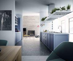 cocina en lacado azul y blanco de muebles altos en