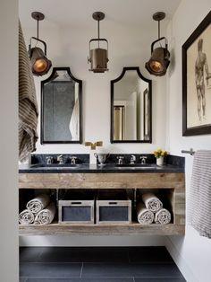 Rural / industrial bathroom in black / white / wood.  Lovely atmosphere!