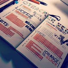 Series Tracker by ilrox viaoi on Instagr. Bullet Journal Tracker, Bullet Journal Inspo, Bullet Journal Netflix, Journal Español, Bullet Journal Notebook, Bullet Journal Spread, Bullet Journal Layout, Bullet Journal Tv Series, Journal Ideas