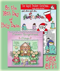 We have two more ADORABLE downloads for 30% off today only! 'Mouse's Gingerbread House' will leave sugar plums dancing in your head. And DJ's 'Twas Night Before Christmas' activity download is the perfect way to introduce this classic poem to the little ones! Get both today! Sale ends at midnight EST 12/14/13.