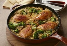 15 Minutes Chicken and Rice  1 1/4 pounds skinless, boneless chicken breast halves  1 tablespoon vegetable oil  1 can (10 1/2 ounces) Campbell's® Condensed Cream of Chicken Soup or (10 1/2 ounces) Campbell's® Condensed 98% Fat Free Cream of Chicken Soup  1 1/2 cups water  1/4 teaspoon paprika  1/4 teaspoon ground black pepper  2 cups uncooked instant white rice  2 cups fresh or frozen broccoli  florets  How to Make It 1 Season the chicken as desired.  Heat the oil in a 12-inch skillet over…