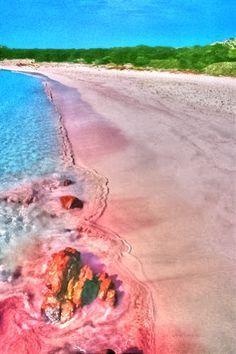 Pink beach, Sardinia, Italy
