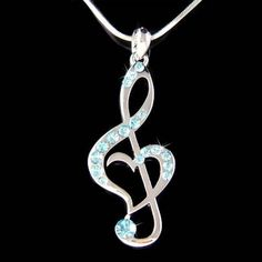Blue W Swarovski Crystal Treble G Clef Music Musical Note Heart Pendant Necklace - Necklaces Jewelry Music Jewelry, Cute Jewelry, Jewelry Accessories, Jewelry Necklaces, Wire Bracelets, Wire Rings, Heart Jewelry, Gold Jewellery, Silver Jewelry