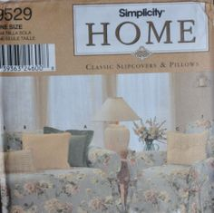 Sewing Pattern Simplicity Home 9529 Classic Slipcovers & Pillows One Size Uncut