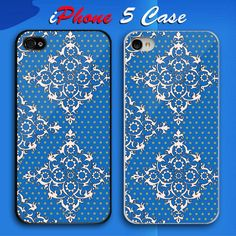 Lacy Blue Pattern Nice Custom iPhone 5 Case Cover