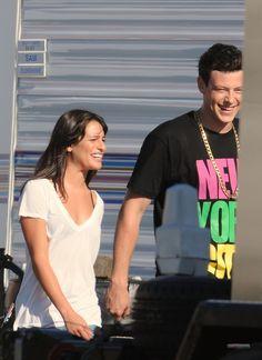 Glee Photo: Glee {behind the scenes} Finn Hudson Glee, Glee Cory Monteith, Lea And Cory, The Oa, Glee Club, Lea Michele, Orange Is The New Black, Scene Photo, Gilmore Girls