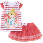 Cinderella Newborn Baby Girl License Flutter Sleeve Top & Scooter 2 Pc Set