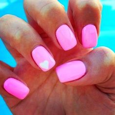 Neon Pink Nails with White Heart Design