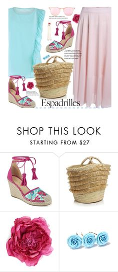 """""""Step into Summer: Espadrilles"""" by beebeely-look ❤ liked on Polyvore featuring Ivanka Trump, Caterina Bertini, Gucci, Kenzo, espadrilles, ruffles, sammydress and strawbags"""
