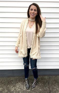 What I Wore Last Week. www.jillianrosado.com  IG @jillianrosado  Winter Fashion.   Apricot Lane Peoria | Anthropologie | American Eagle | Madewell | Stella & Dot | choker tee | ripped jeans | fringe cardigan