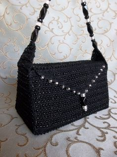 crocheted and beaded bag by Dawn Holbrook