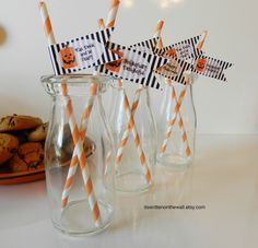 Halloween Party Straws & Halloween Themed Flags-Perfect for Parties or any October Event