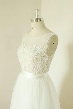 Aline Sex sheer ivory wedding dress lace tulle by MermaidBridal