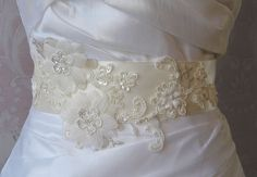 Ivory Lace Bridal Sash Wedding Gown Sash with by TheRedMagnolia Cream Wedding, Wedding Sash, Bridal Sash, Wedding Gowns, Large Flowers, Silk Flowers, Lace Overlay, Off White, Ivory