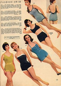 Cute one-piece bathing suits from Lana Lobell, 1962. I'm a fan of the two in the lower right.