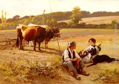 Edouard Bernard Debat-Ponsan Rest In The Fields