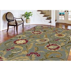 5056-Blue-8x10 8 x 10 Large Blue, Red & Beige Area Rug - Laguna