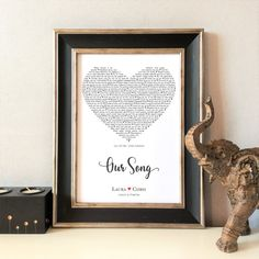 Personalised Our Song Print, Unique Gift, Wedding, Anniversary, Valentines, For Her, For Him, Word Art, Customised, FRAME NOT INCLUDED