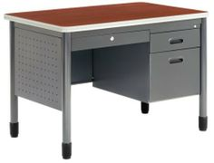 """42-1/4"""" Sales Desk . $619.00. * Heavy duty 16 gauge steel construction * Locking full suspension pedestals * 9mm T-mold protective edge banding * Round steel legs with leveling glides * Hi-pressure laminate top * Locking center drawer standard * Locking full suspension drawers Measures 42-1/4""""W x 26-3/4""""D x 29""""H overall. Shpg. wt. 135 lbs. PRICE INCLUDES FREIGHT! (Truck shipment - See Terms & Conditions). IN STOCK!"""