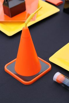 Construction Themed 3rd Birthday Party. Orange cone drinks??